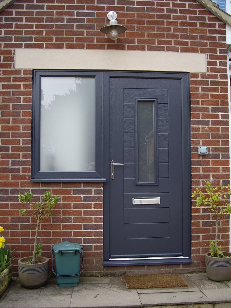 Anthracite Grey Alto door with Satin glass and Flag window