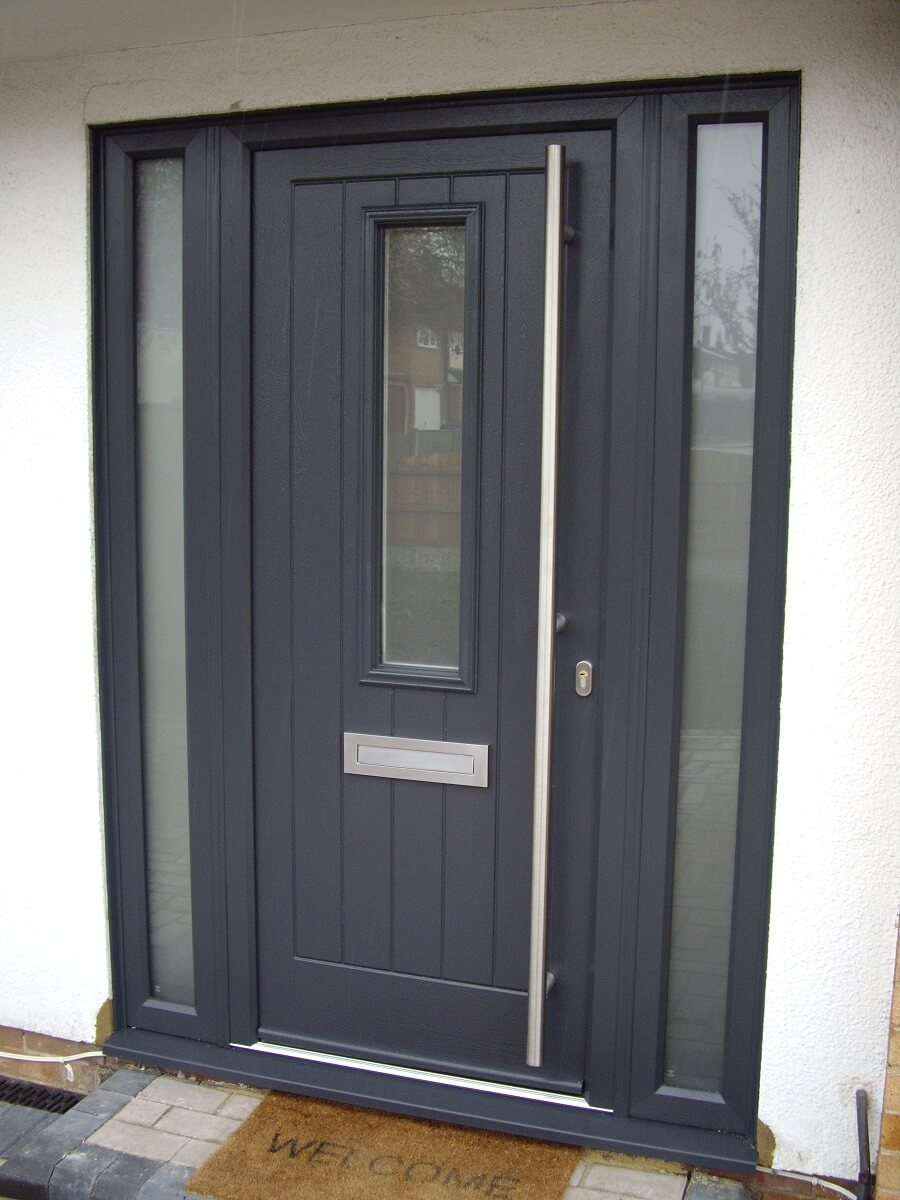 Anthracite Grey Coombe door with 1800mm pull handle and Satin glass