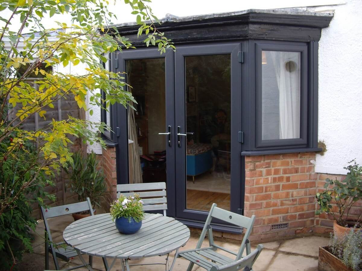 Anthracite Grey French Doors and Flag Windows