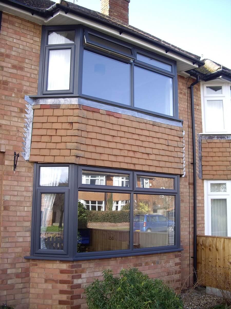 Anthracite Grey PVCu bay windows