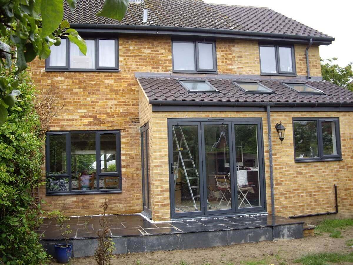 Anthracite Grey windows and bi-folding doors