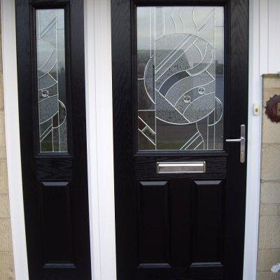 Black composite door and side screen