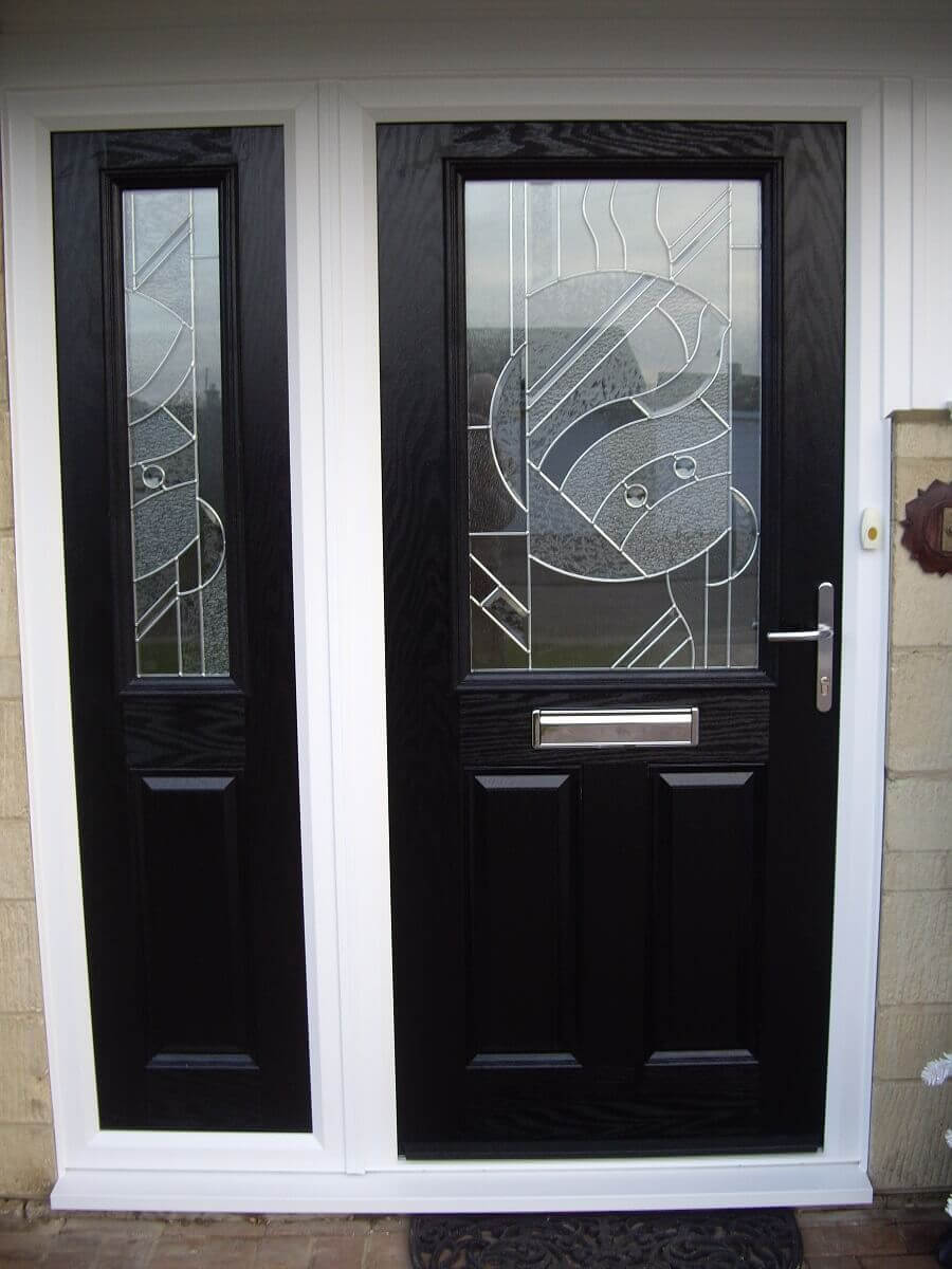 Black composite door and side screen