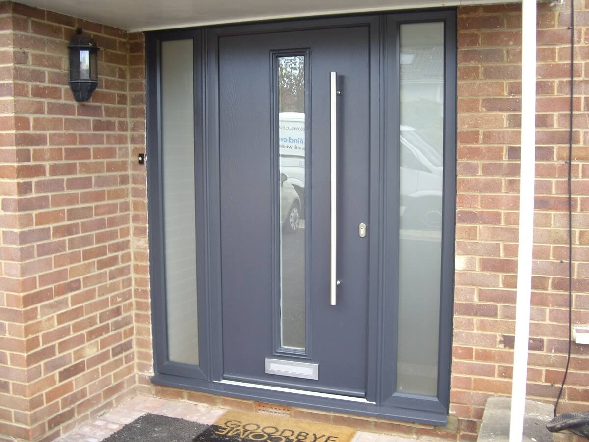 Endurance Anthracite Grey Pen door with Satin glass and 1200mmm pull handle