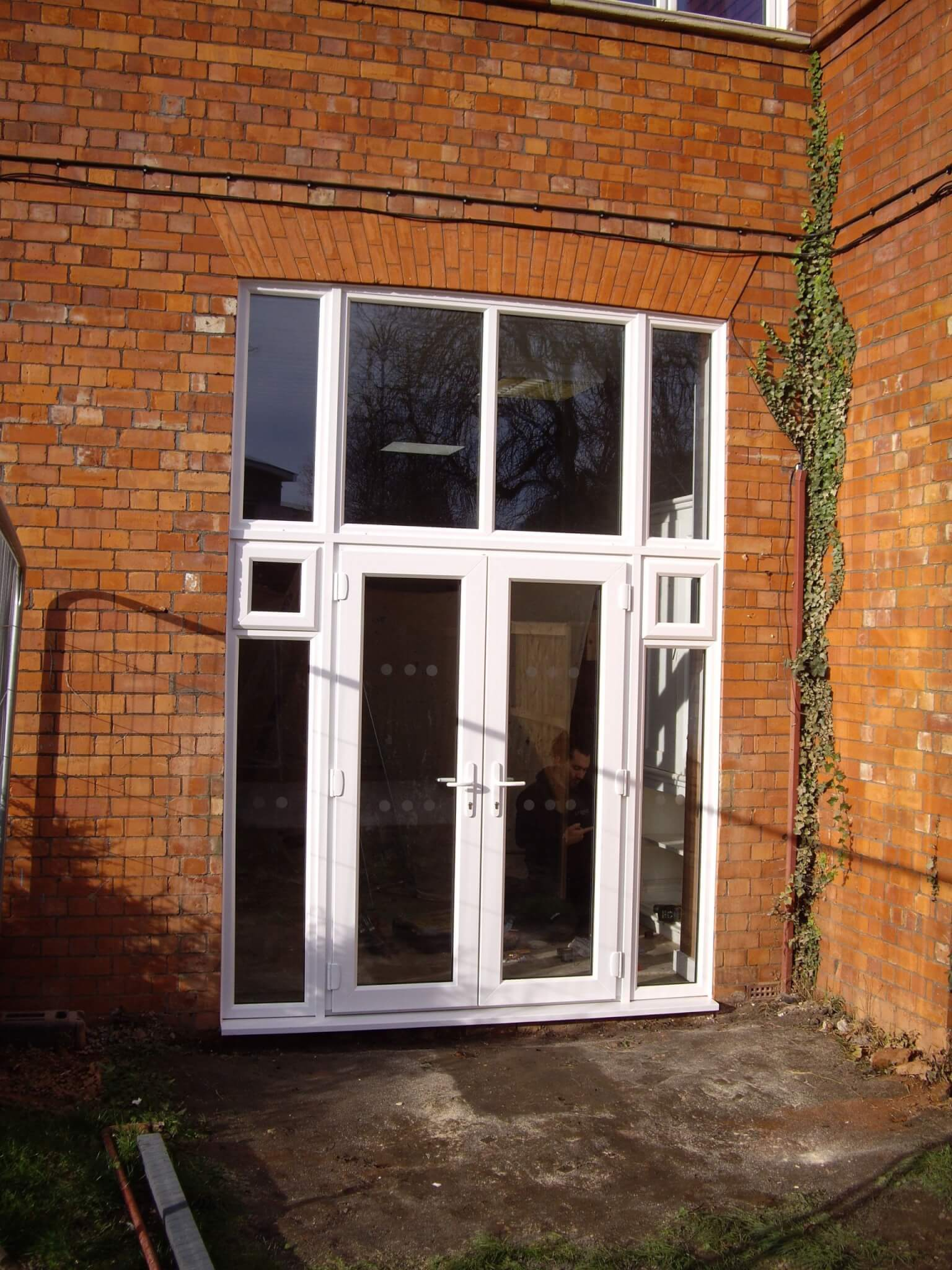 French doors with side and top lights