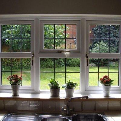Leaded glass casement window