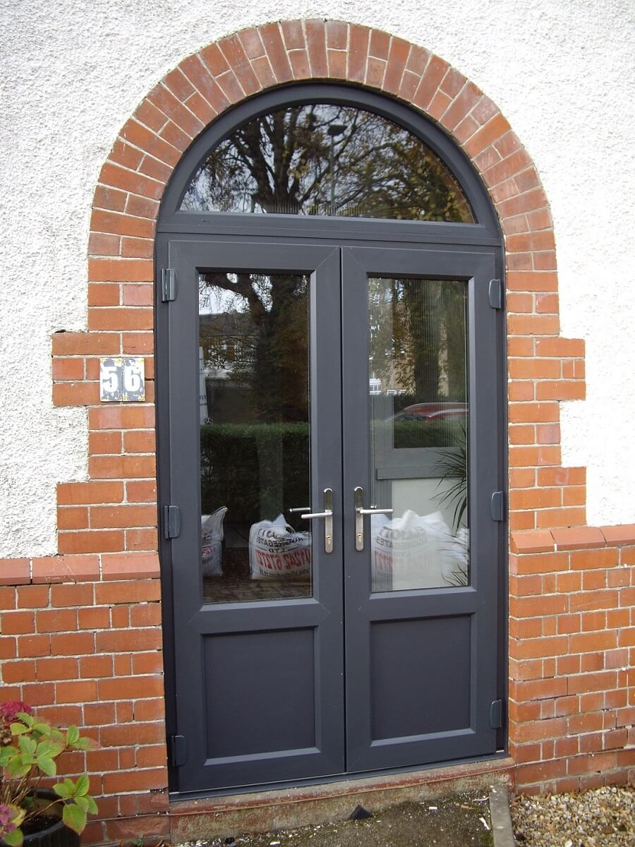 PVCu Anthracite Grey Doors with arched top light