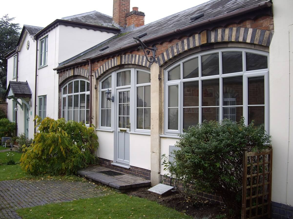 Shaped PVC windows in Agate Grey