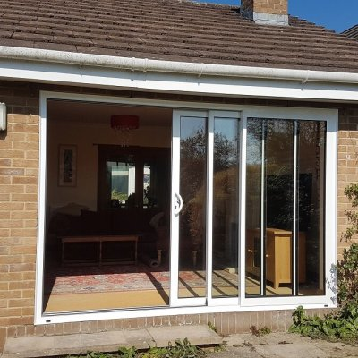 Triple track aluminium sliding patio doors (external open)