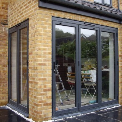 Two sets of aluminium bi-folding doors