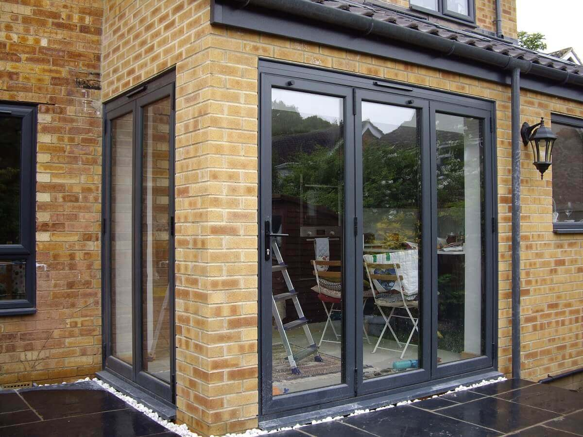 Two sets of aluminium bi-folding doors